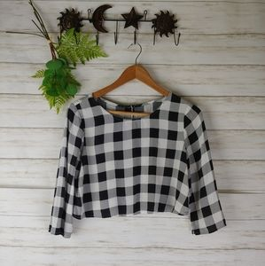 American Apparel Gingham Checkered Crop Top
